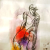 Udi 2014 acrylic monoprint and charcoal