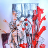 Udi 2014 acrylic monoprint and pastel