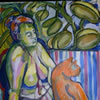 Woman with red cat, 2007, 40x60, acrylic on paper