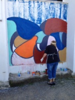Mural painting at the school together with students