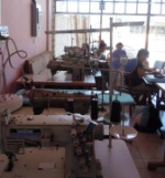 former cloth fabric hall with industrial sewing machines