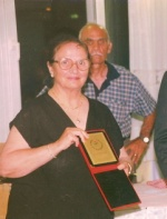 Feyziye Hulusi in later years getting one of the many awards