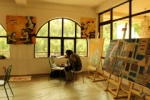 Feridun Isiman at work in the studio of the art colony