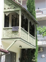 Wooden lace balconies