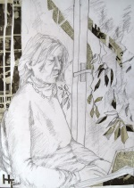 Leonie reading by the window, collage and pencil, 42x59cm, 2019