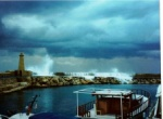 Old harbour in Kyrenia - winter storm