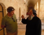 Our guide and friend Fatih in deep conversation with the head monk