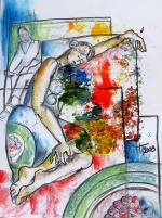 Woman resting, mixed media on paper, 50x70cm, 2018